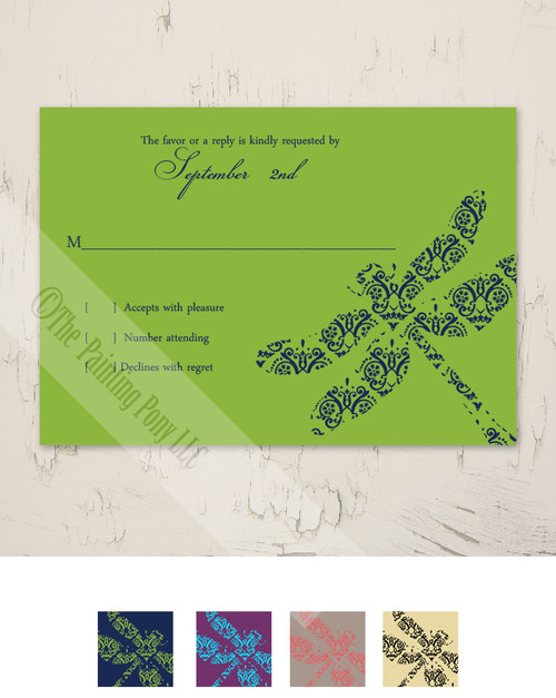 Garden Dragonflies Wedding RSVP card (10 pk)