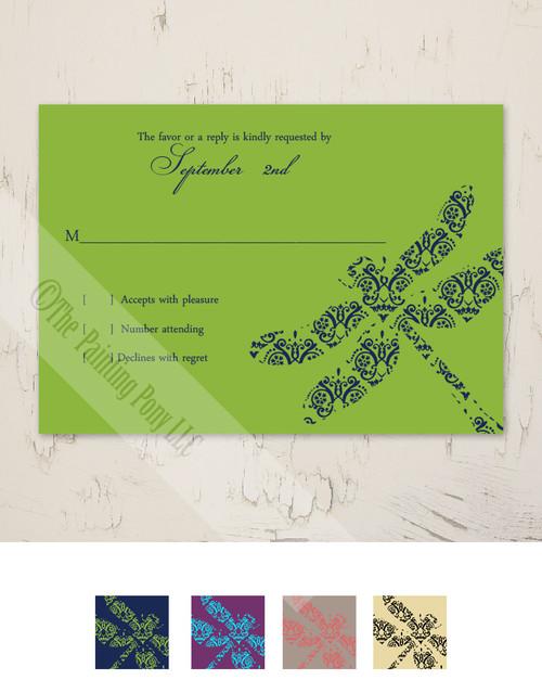 Garden Dragonflies Wedding RSVP card (10 pk)