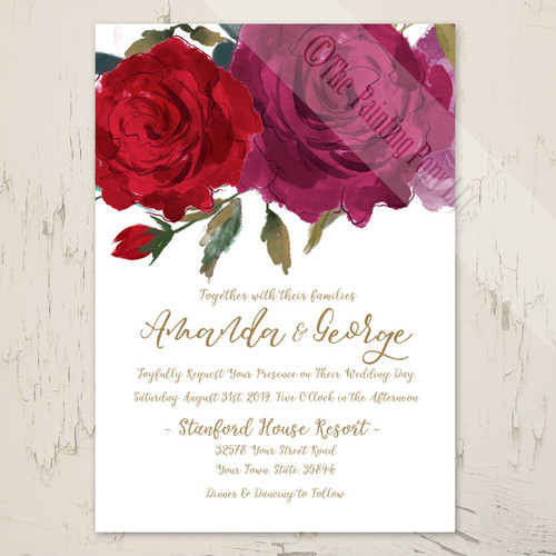 Watercolor Rose Garden Wedding Invitation (10 pk)