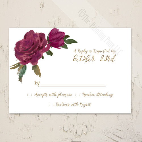 Watercolor Roses Wedding RSVP card (10 pk)