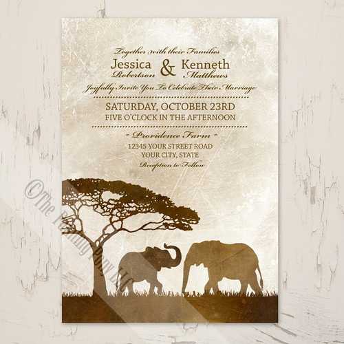 African Elephants Wedding Invitation (10 pk)