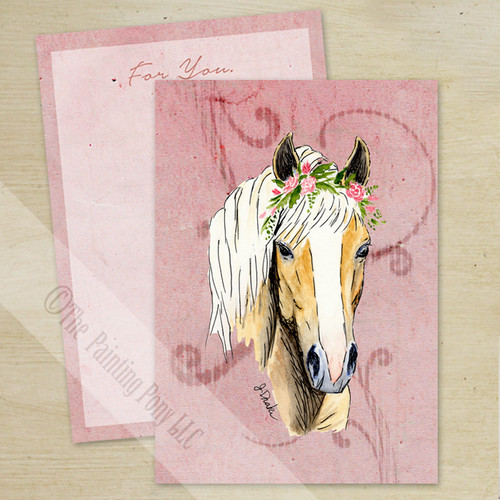 Haflinger Horse Head Valentine's Day Flat Card (10 pk)