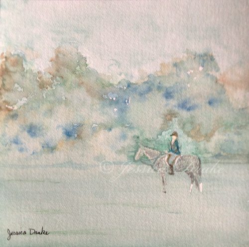 "6""x6"" equestrian watercolor painting on watercolor paper"