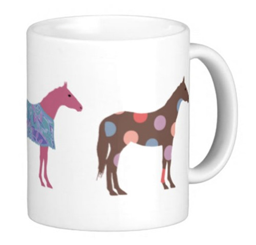 fun colorful horse mug