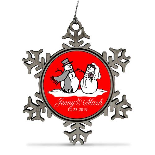 Custom wedding anniversary snowman holiday ornament.