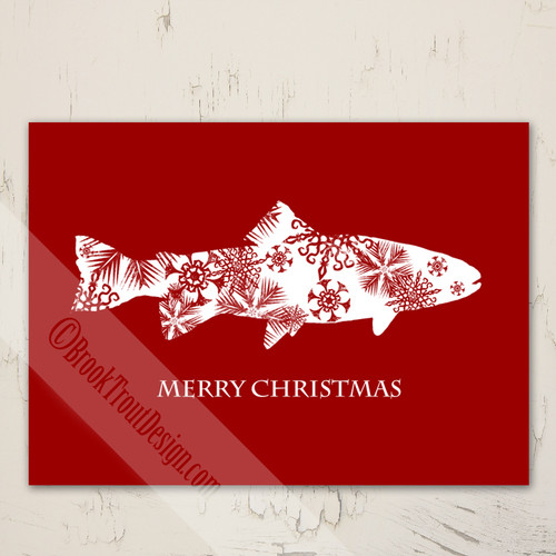 Snowflake Trout Christmas Fishing Greeting Cards (10 pk)