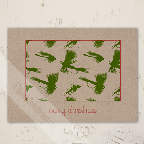 rustic fly fishing themed christmas greeting cards