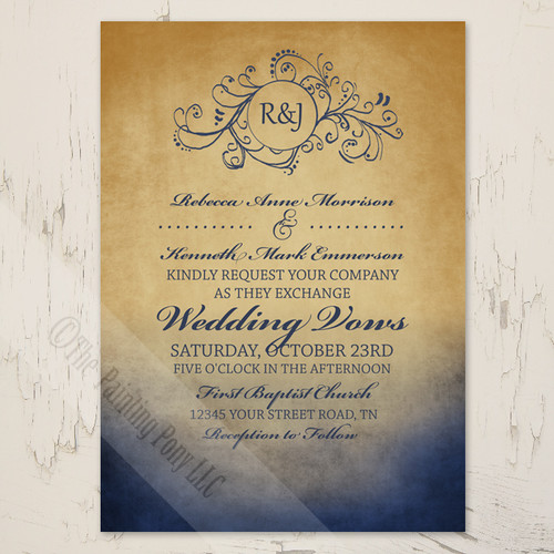 Navy Blue and Gold Colored Bohemian style wedding invitations