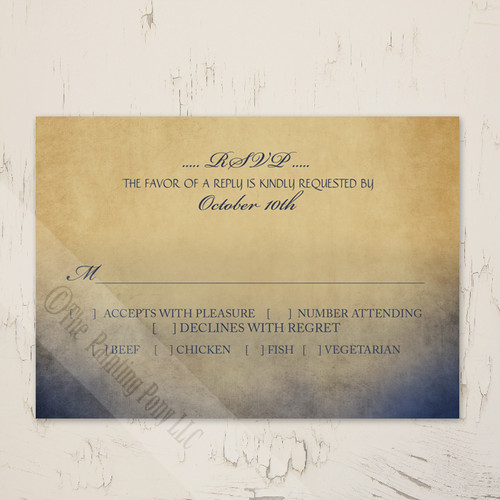 Rustic Navy and Gold Bohemian Wedding response card