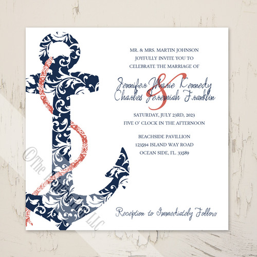navy blue and coral pink ship anchor beach wedding invitations - Navy Wedding Invitations