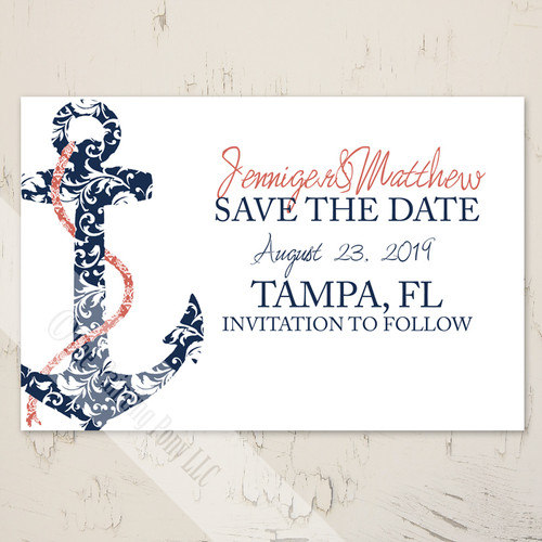 Beach Wedding Ship Anchor Save The Date Postcard