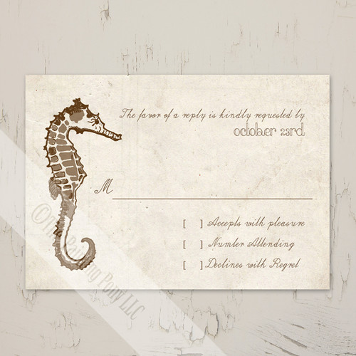 Sea horse beach wedding response card or rsvp.