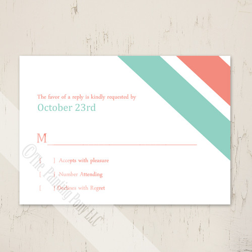 Modern Corner Stripes Wedding RSVP card (10 pk)