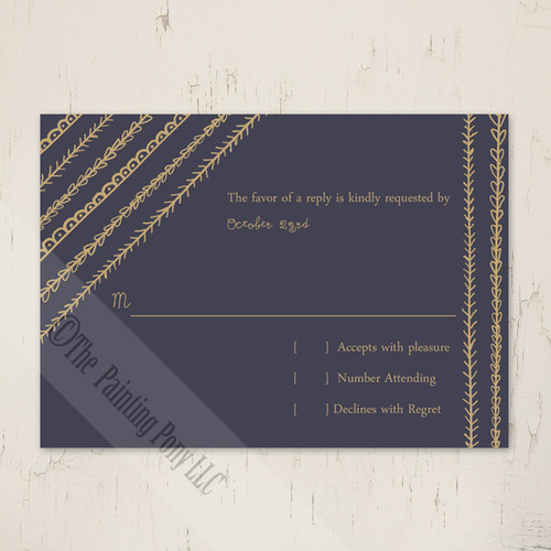 Artsy Doodles Wedding RSVP card (10 pk)