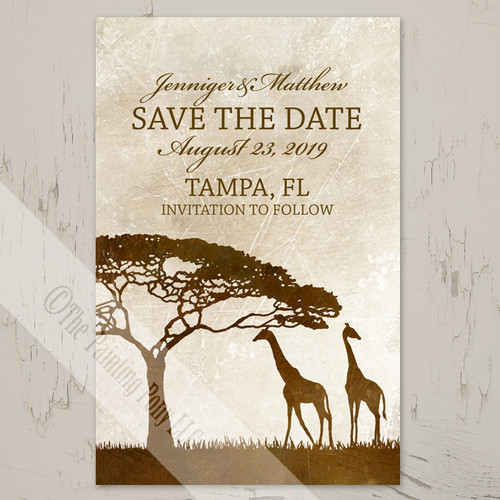 Zoo wedding African giraffes Save the date postcards