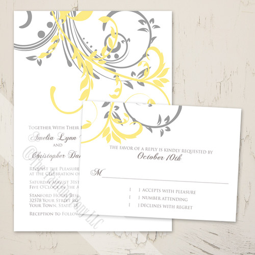 Double Floral Swirls Modern Wedding Invitation (10 pk)