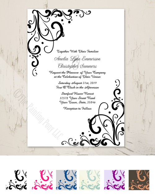 Black and White Sophisticated Wedding Invitation.