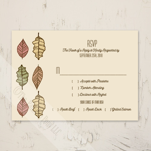 Autumn Leaves Wedding Response Card