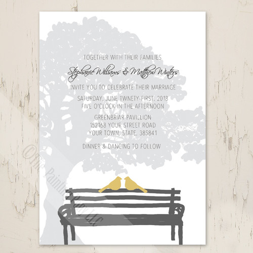 Birds on a Park Bench City Wedding Invitations