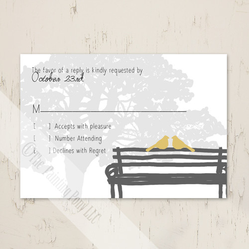 Yellow and Grey Dove Wedding RSVP