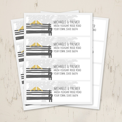 Wedding Doves Park Bench Return Address Labels