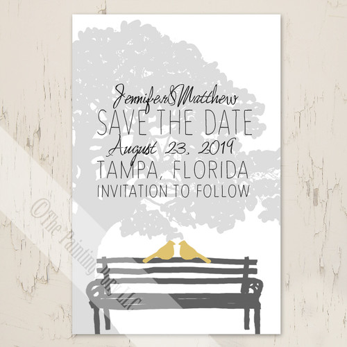 Yellow and Grey Wedding Doves Save The Date Postcard