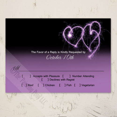 romantic purple and black wedding rsvp invite
