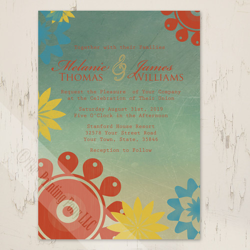 Retro 70's themed floral wedding invitation