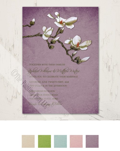 Vintage Dogwood Flower Wedding Invitation