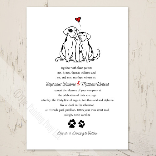 Two dogs puppy love wedding invitation