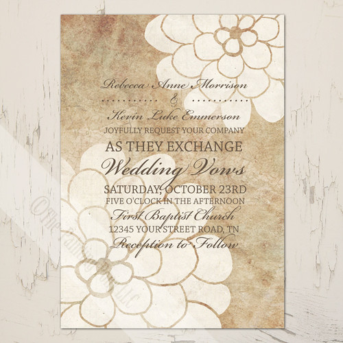 Vintage White and Ivory Dahlia flowers wedding invitation