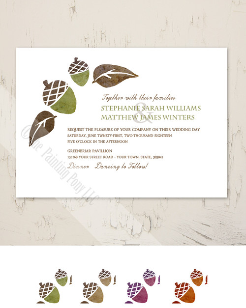 Brown and Green Fall Acorns Wedding Invitation