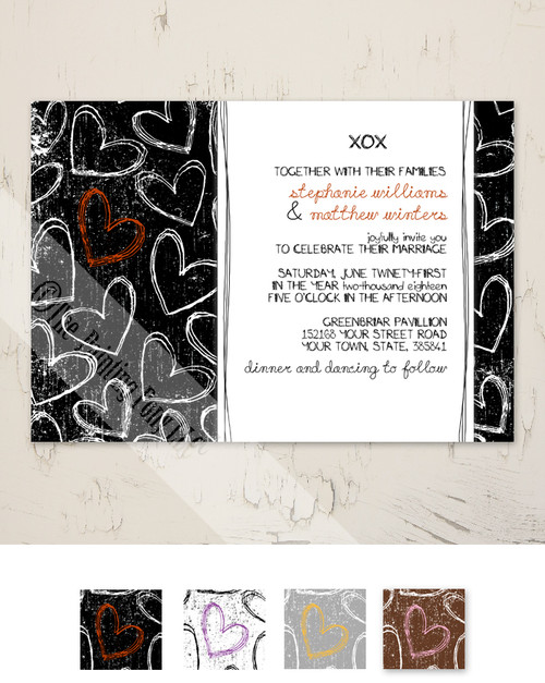 Doodle Grunge Hearts Wedding Invitation