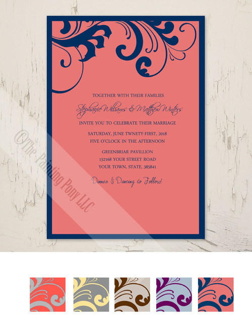 Coral and Grey Swirls Frame Wedding Invitation (10 pk)