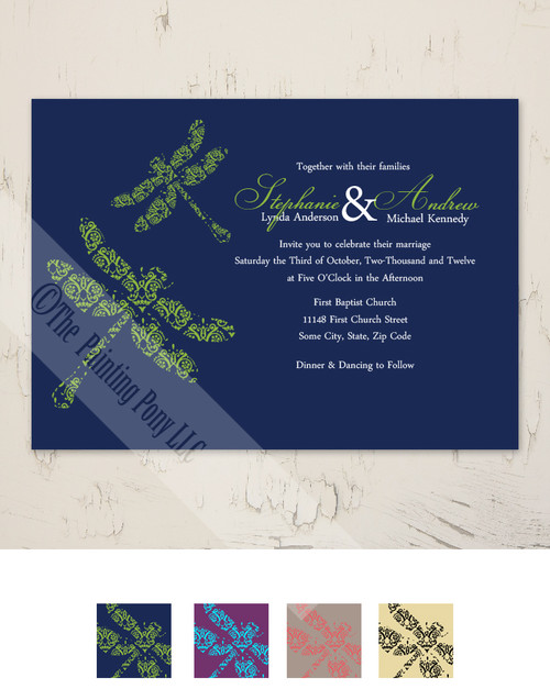 Navy Blue and Lime Green Dragonflies Garden Wedding Invitation