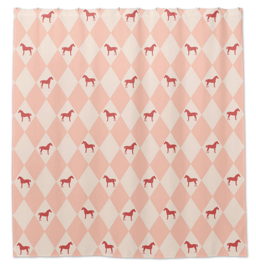 Pink Harlequin Horse Shower Curtain