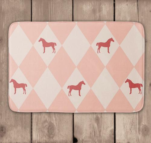 Pink Harlequin Horse Equestrian Bath Mat