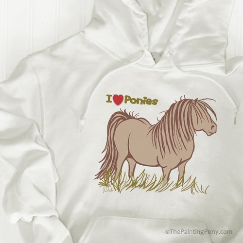 I Love Ponies Adult Equestrian Hooded Sweatshirt