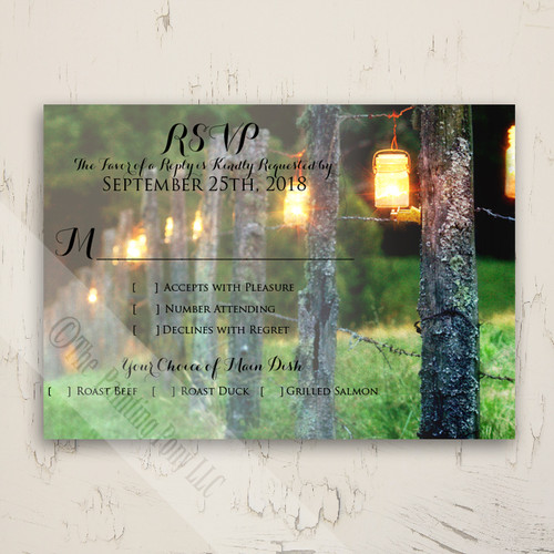 Mason Jar Country Wedding RSVP card