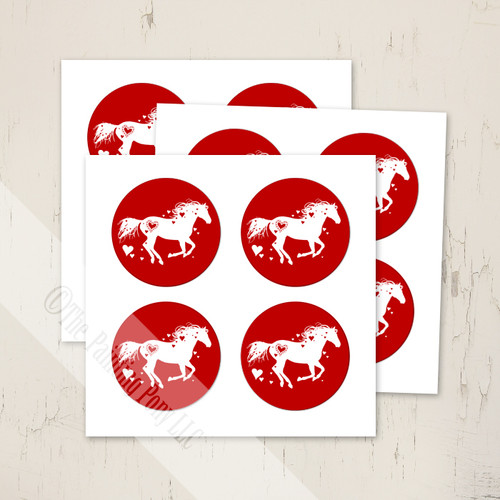 Heart Horse Valentine's Day Equestrian Stickers