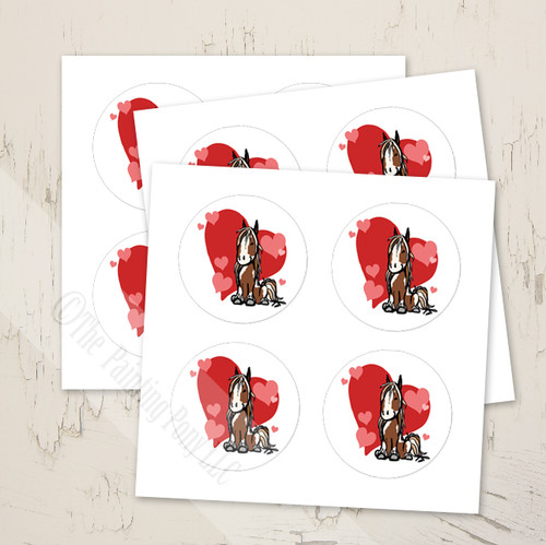 Gypsy Vanner Pony Heart Horse Valentine's Day Stickers