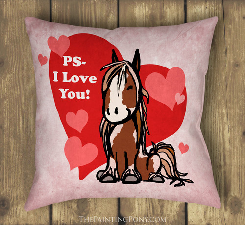 PS I love you Heart Pony Equestrian Valentine's day throw pillow