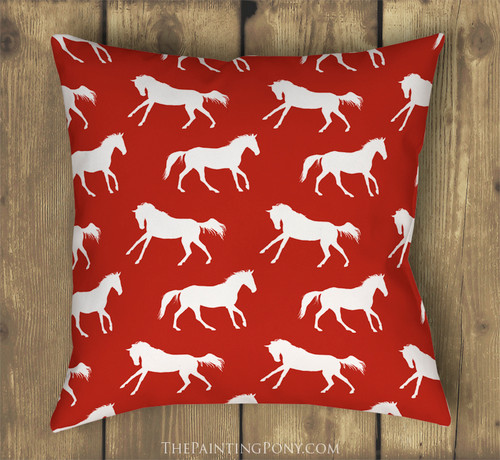 Festive Red and White Galloping Horses Throw Pillow