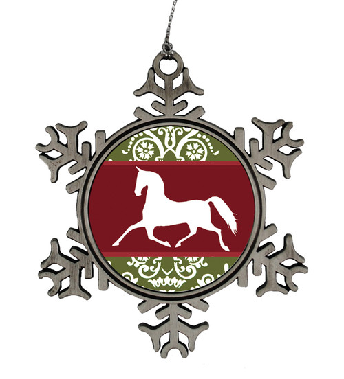 Red and Green Damask Equestrian Snowflake Christmas Ornament for the horse lover.