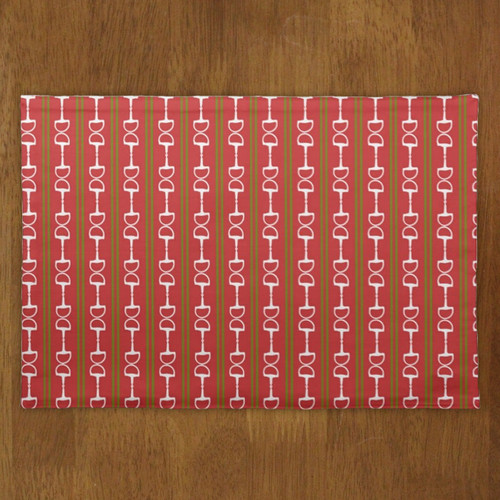 Christmas Holiday Horse Bits and Striped Equestrian Cloth Placemat