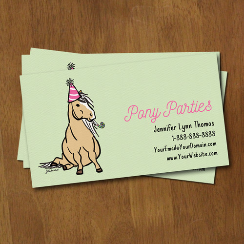 Birthday Party Pony Whimsical Business Card