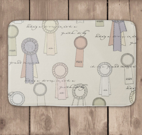 Equestrian themed horse show ribbons bathroom floor mat for the shower or bath.
