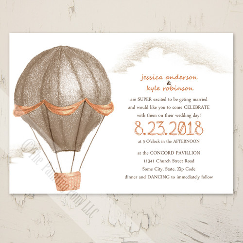 Orange and Brown Hot Air Balloon Wedding Invitation