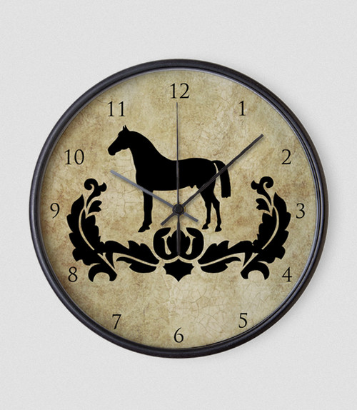 Damask Horse Equestrian Wall Clock