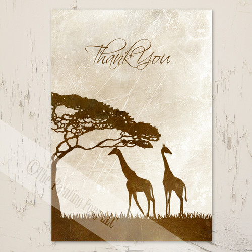 Thank You Note with African Giraffes